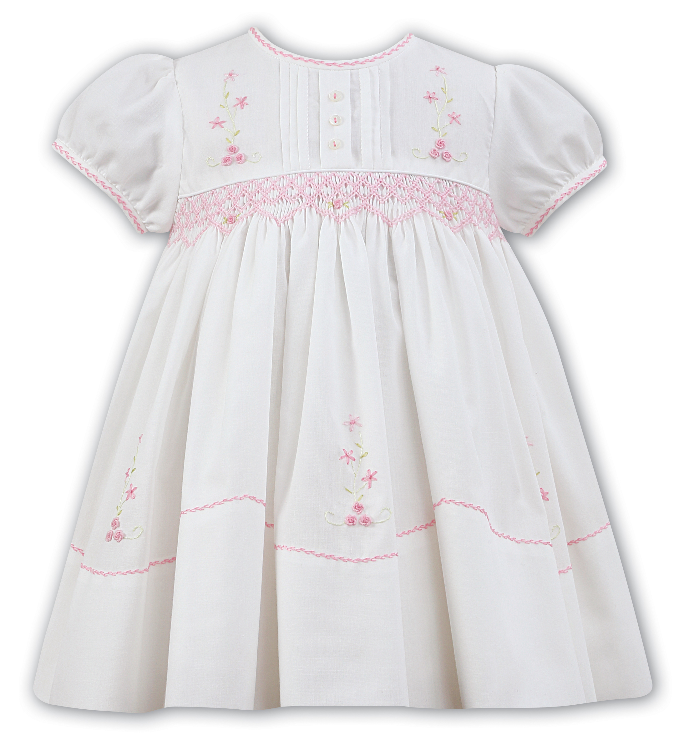 384faaedd SARAH LOUISE IVORY/PINK SMOCK 011475-2 - Babies Blessings